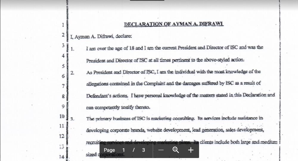 Declaration of Alec Difrawi