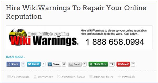 Hire Wiki Warnings