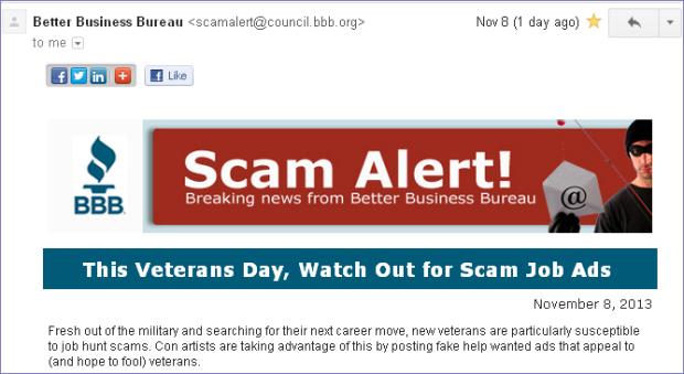 Veteran Day Scam